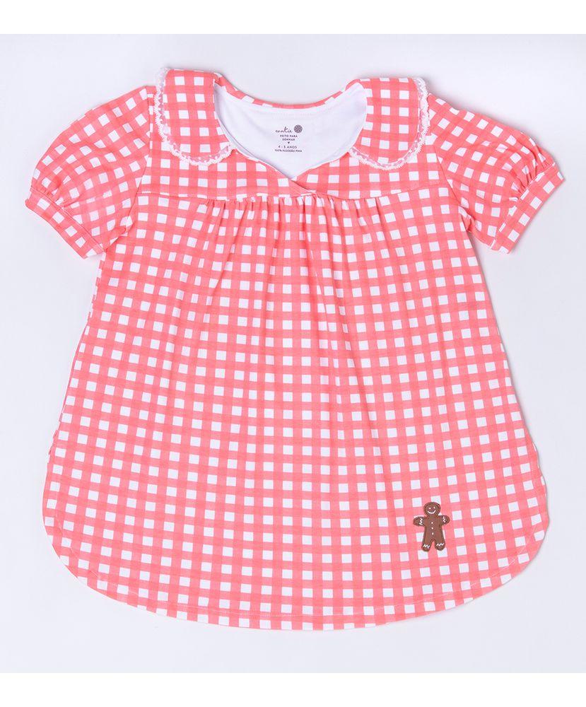 Camisola-Infantil-Pima-Vichy-Coral-Cookie-Dreams-Pijamas