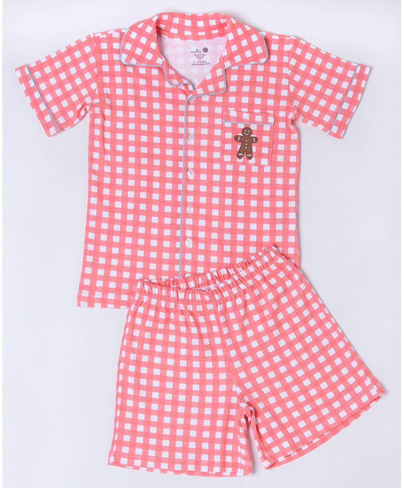 Conjunto-Pijama-Infantil-Sweet-William-Pima-Vichy-Coral-Cookie-Dreams-Pijamas