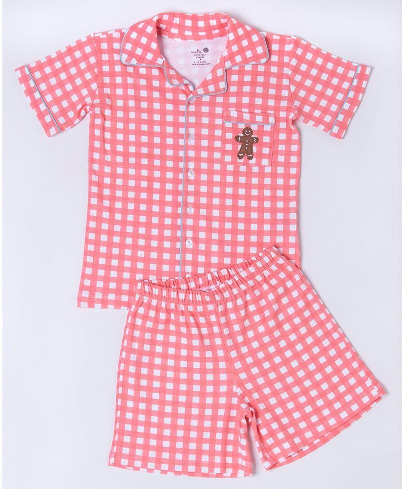 Conjunto-Pijama-Infantil-Sweet-William-Pima-Vichy-Coral-Cookie-Dreams-Pijamas