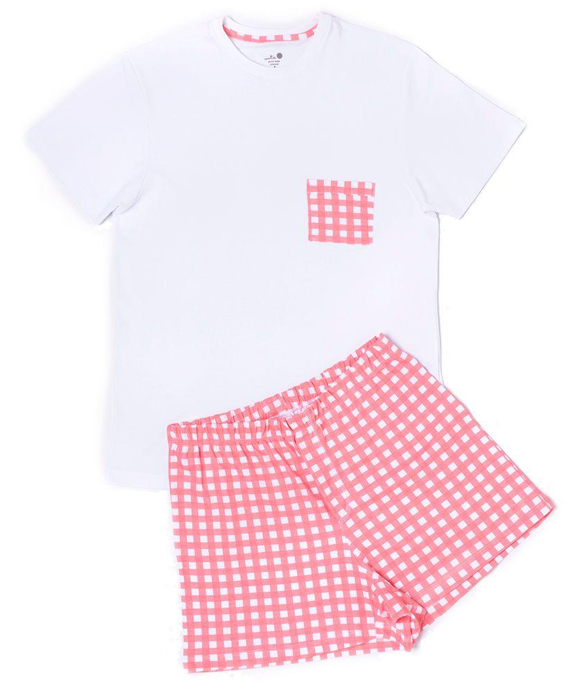 Conjunto-Pijama-Masculino-Algodao-Pima-Daddy-Vichy-Coral-Cookie-Dreams-Pijamas