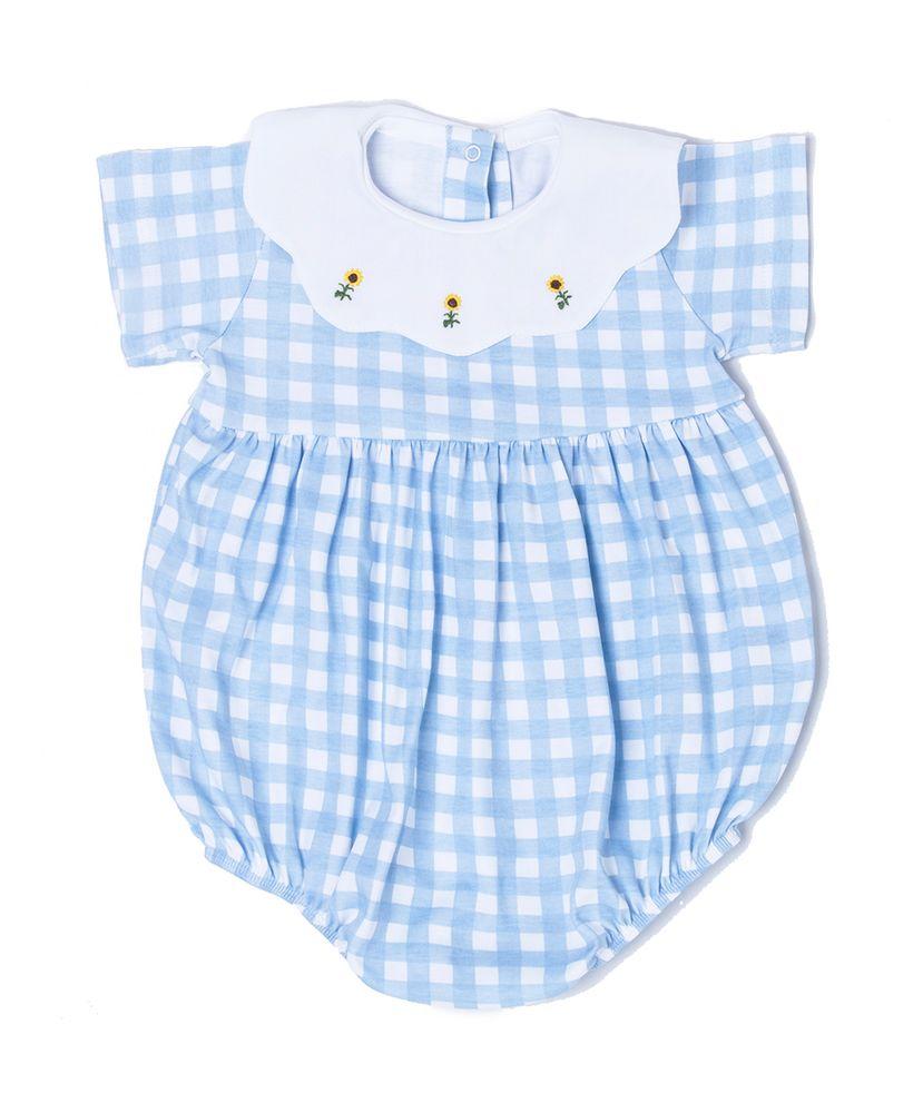 Macaquito-Bebe-Pima-Bambina-Vichy-Azul-Girassois-da-Cookie-Dreams-Pijamas