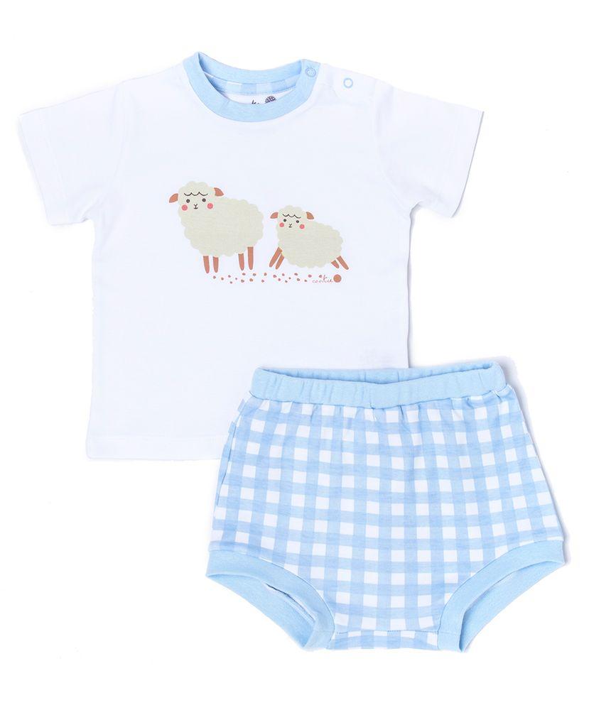Conjunto-Bebe-Algodao-Pima-Muffin-Vichy-Azul-Ovelhas-da-Cookie-Dreams-Pijamas