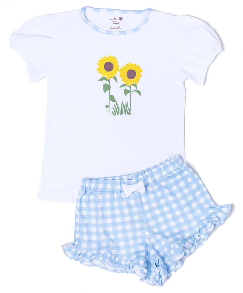 Pijama-Infantil-de-Algodao-Pima-Sunflower-Vichy-Azul-Girassol-Cookie-Dreams-Pijamas
