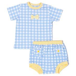 Conjunto-Bebe-Algodao-Pima-Muffin-Vichy-Azul-Margaridas-da-Cookie-Dreams-Pijamas
