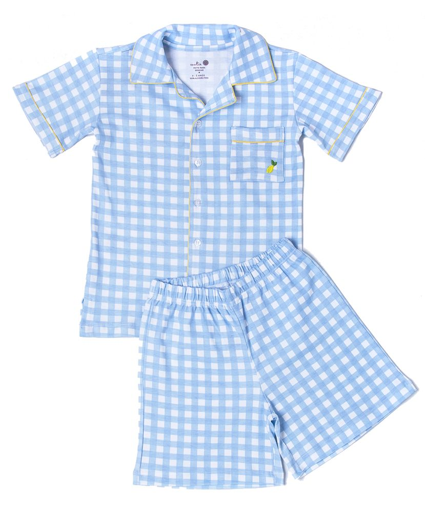 Pijama-Infantil-Algodao-Pima-Sweet-William-Vichy-Azul-Cookie-Dreams