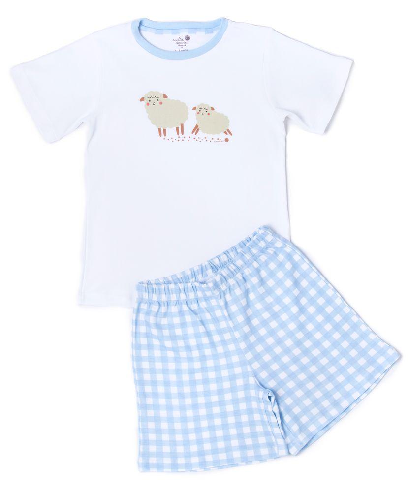 Pijama-Infantil-Algodao-Pima-Ovelhas-Vichy-Azul-Cookie-Dreams