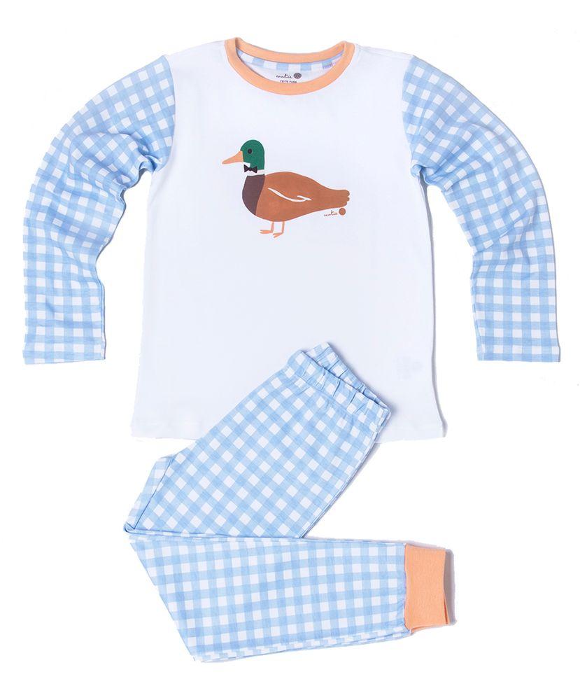 Pijama-Infantil-Algodao-Pima-Pato-Real-Vichy-Azul-Cookie-Dreams