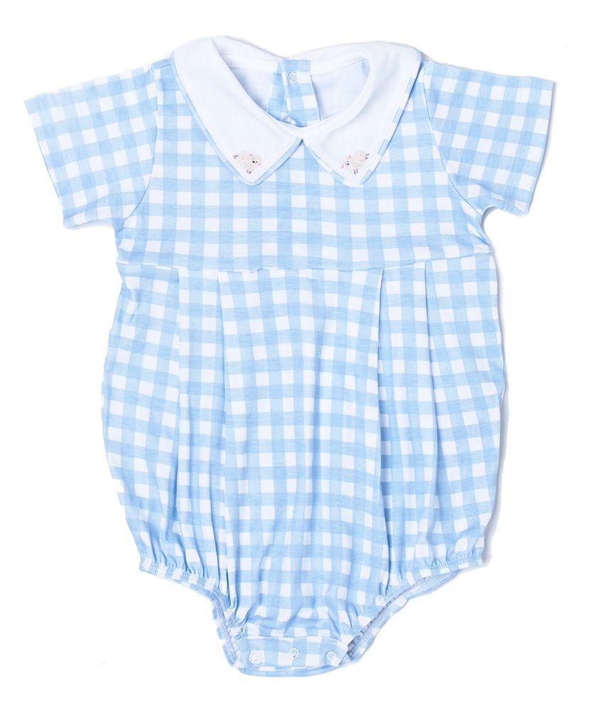 Macaquito-Bebe-Algodao-Pima-Bambino-Vichy-Azul-Ovelhinhas-da-Cookie-Dreams-Pijamas