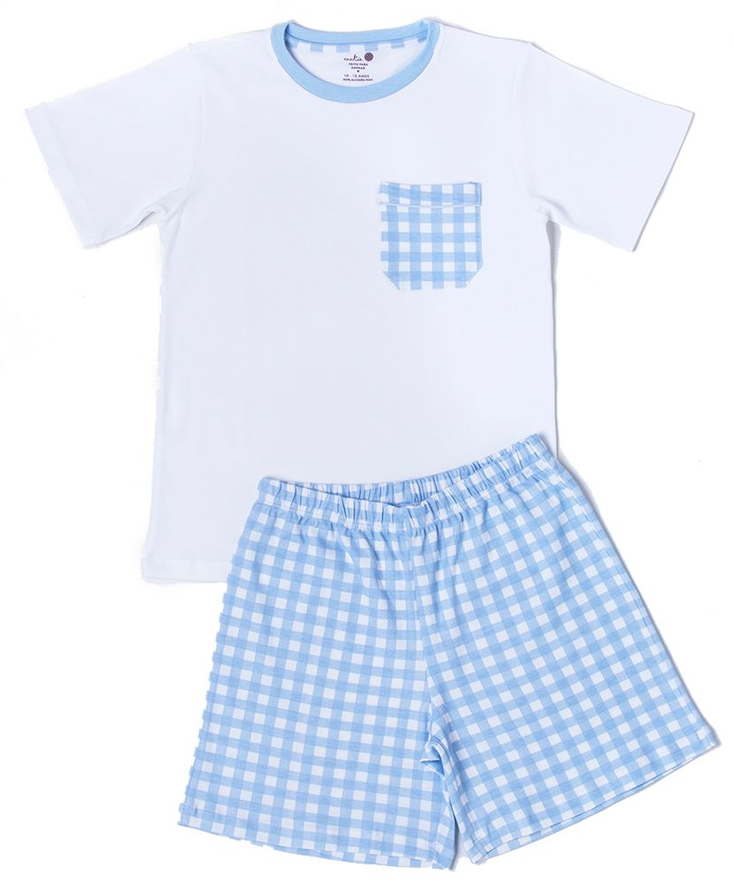 Pijama-Infantil-Pima-Apple-Vichy-Azul-com-Bolsinho-da-Cookie-Dreams