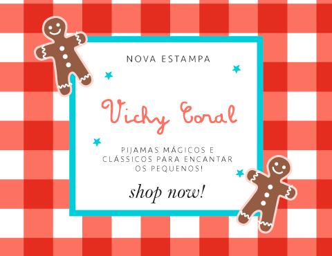 Cookie Dreams Pijamas Algodão Pima Peruano Vichy Coral