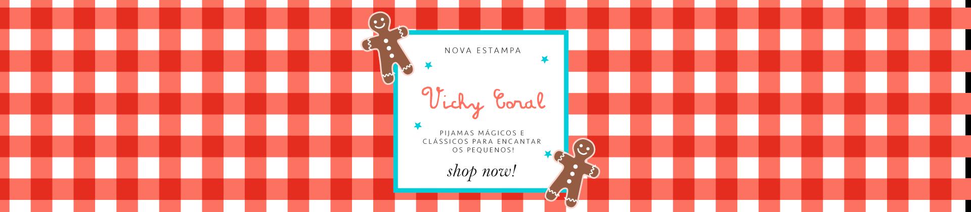 Cookie Dreams Pijamas Algodão Pima Peruano VICHY CORAL Home 1