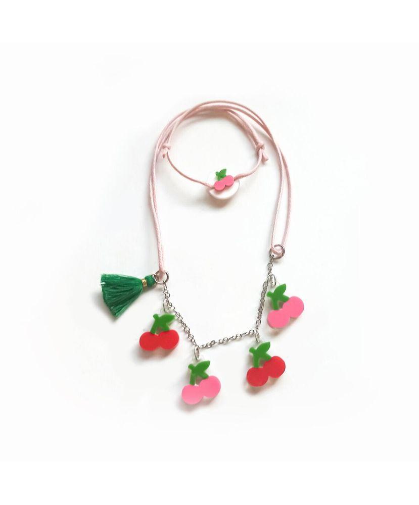 Colar-Infantil-Cerejinhas-Vermelho-e-Rosa